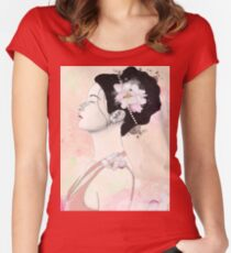 Woman with cherry blossom flowers Women's Fitted Scoop T-Shirt