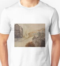 Travelling in glass pyramid between modern city and historic abandoned town T-Shirt