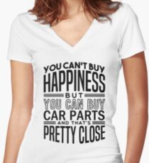 Happiness is car parts Women's Fitted V-Neck T-Shirt