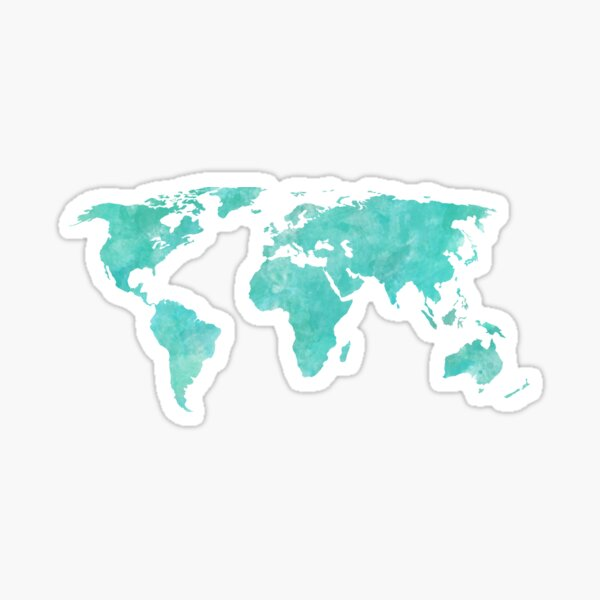 Blue and Teal Watercolor World Map Sticker
