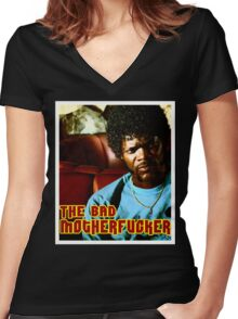 """Pulp Fiction- Jules """"The Bad Motherfucker"""" Women's Fitted V-Neck T-Shirt"""