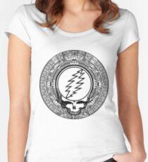 Mayan Calendar Stealie - B&W Women's Fitted Scoop T-Shirt