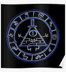 Bill Cipher Zodiac in Blue Poster