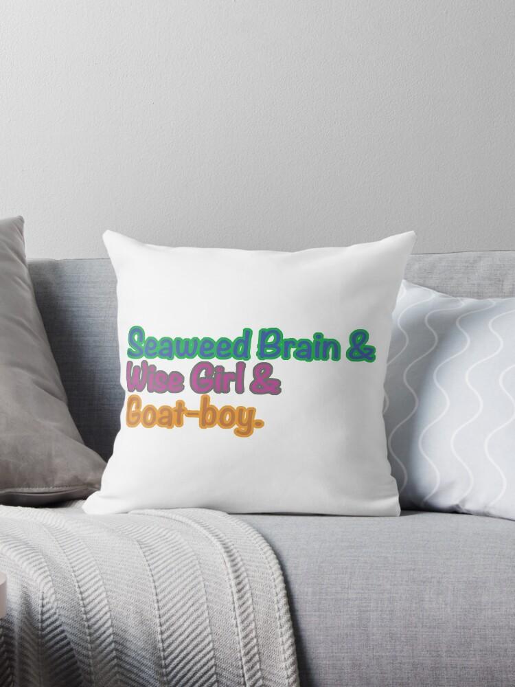 Seaweed Brain Wise Girl Goat Boy Throw Pillow By Stormysseas