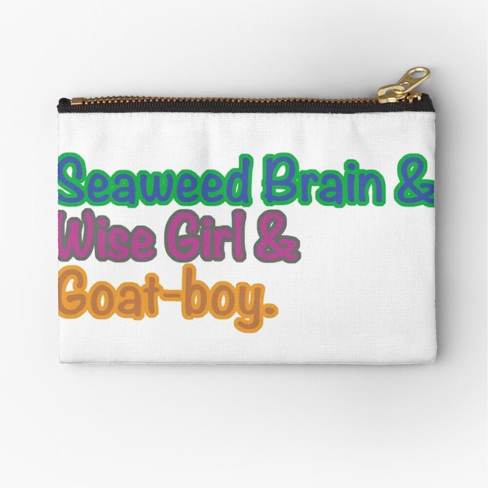 Seaweed Brain Wise Girl Goat Boy Zipper Pouch