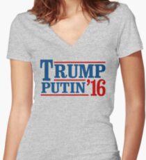 Trump Putin 2016 Women's Fitted V-Neck T-Shirt