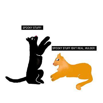 X-files Cats: Spooky stuff isn't real, Mulder by olgapanteleyeva