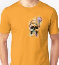 Pastel Skull on Orange Unisex T-Shirt