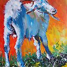 White goat painting - scratching my back by MikeJory