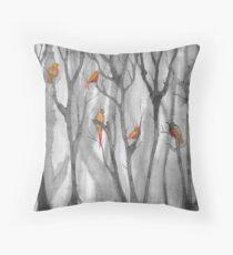 orange birds Throw Pillow