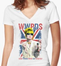 What Would Patsy Do, Sweetie? Ab Fab. Absolutely Fabulous. Patsy Stone. Edina.  Women's Fitted V-Neck T-Shirt
