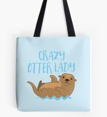 Crazy OTTER lady (new swimming) Tote Bag
