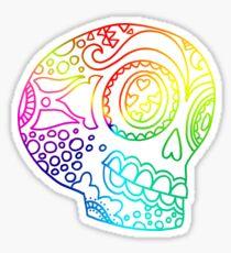 Rainbow Lines Sugar Skull in Love Sticker