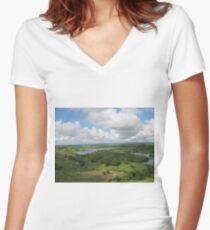 Green Green Grass Women's Fitted V-Neck T-Shirt