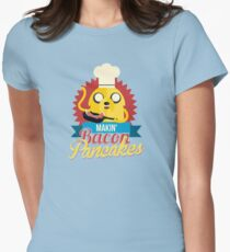 Jake The Dog Making Bacon Pancakes Womens Fitted T-Shirt