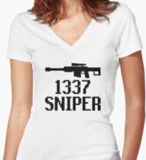 1337 Sniper (Elite) Women's Fitted V-Neck T-Shirt
