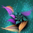 Lavender Green Orange Petals by karlajkitty