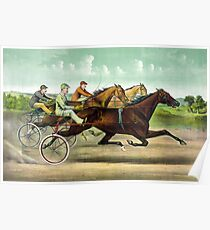 Fast trotting to fast wheels - 1893 - Currier & Ives Poster