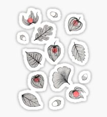 Red Physalis and skeleton leaves Sticker