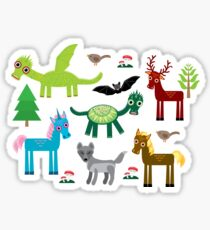 Seamless pattern with funny dragons, bats, unicorn, horse, deer, bird, wolf Sticker