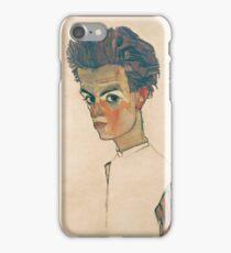 Egon Schiele - Self-Portrait with Striped Shirt 1910  Expressionism  Portrait iPhone Case/Skin
