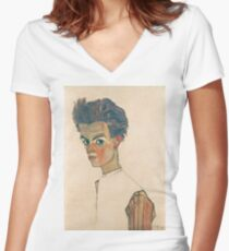 Egon Schiele - Self-Portrait with Striped Shirt 1910  Expressionism  Portrait Women's Fitted V-Neck T-Shirt