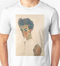 Egon Schiele - Self-Portrait with Striped Shirt 1910  Expressionism  Portrait Unisex T-Shirt