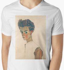 Egon Schiele - Self-Portrait with Striped Shirt 1910  Expressionism  Portrait Men's V-Neck T-Shirt