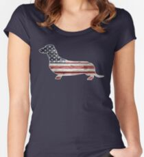 Patriotic Dachshund Dog, American Flag Women's Fitted Scoop T-Shirt