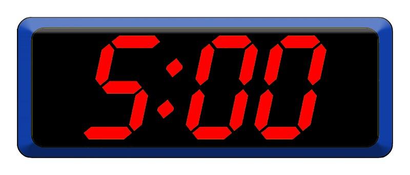 Quot 5 Five Fifth Time Digital Clock 5 00 Cool Retro