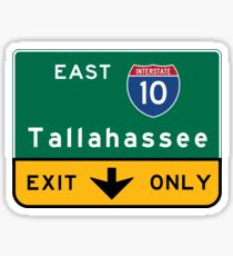 Tallahassee I10, FL Road Sign, USA Sticker