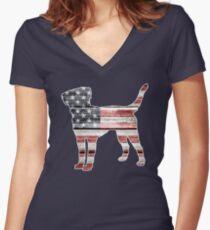 Patriotic Labrador Retriever, American Flag Women's Fitted V-Neck T-Shirt