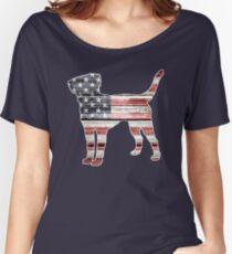 Patriotic Labrador Retriever, American Flag Women's Relaxed Fit T-Shirt