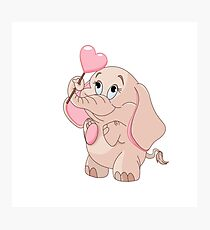 Pink Cartoon Elephant Photographic Print