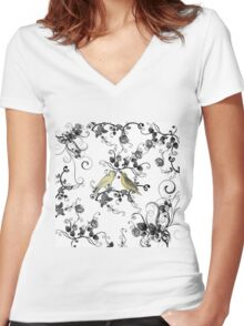 Chic vintage yellow birds black white roses Women's Fitted V-Neck T-Shirt