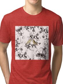 Chic vintage yellow birds black white roses Tri-blend T-Shirt