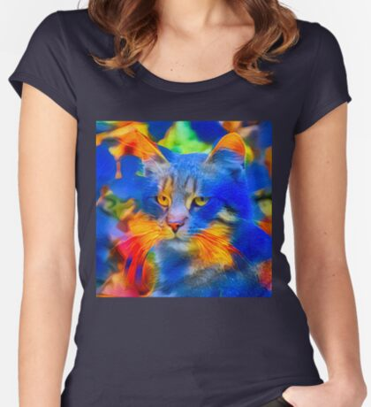 Artificial neural style flower wild cat Fitted Scoop T-Shirt