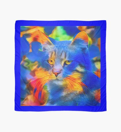 Artificial neural style flower wild cat Scarf