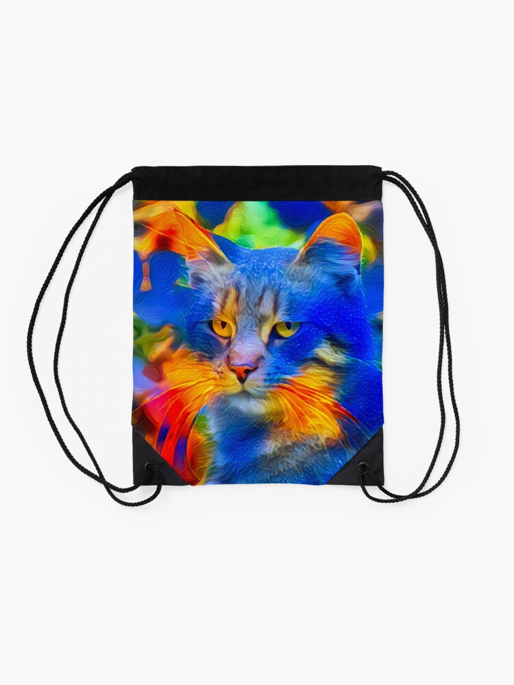 Alternate view of Artificial neural style flower wild cat Drawstring Bag