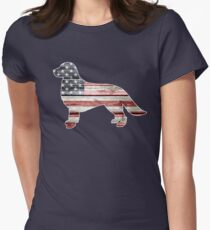 Patriotic Golden Retriever, American Flag Womens Fitted T-Shirt