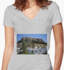 The Acropolis at Lindos Women's Fitted V-Neck T-Shirt