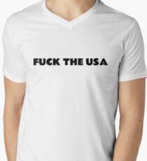 Fuck der USA Amerika Punk Rebel T-Shirt mit V-Ausschnitt