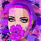 Girl with Pink Hibiscus on Lips by BluedarkArt