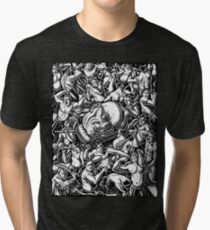 The Giant Head of Philosopher Michel Foucault amidst a scene of Whipping and Flagellation Tri-blend T-Shirt
