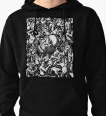 The Giant Head of Philosopher Michel Foucault amidst a scene of Whipping and Flagellation Pullover Hoodie