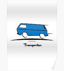 VW Bus Blue Vanagon Caravelle Transporter T3 Poster