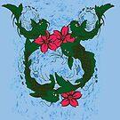 Koi Fish Swimming Among Red Lotus Flowers by pjwuebker