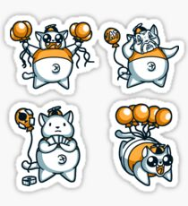 Chubby cat with a balloon Pack 6 Sticker