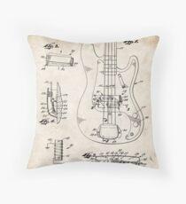 1961 Fender Precision Bass Guitar Patent Art Throw Pillow