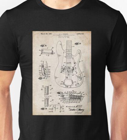 1961 Fender Precision Bass Guitar Patent Art Unisex T-Shirt
